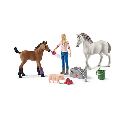 SCHLEICH 42486 VET VISITING MARE AND FOAL