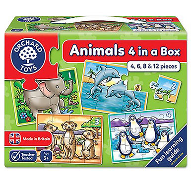 Orchard Toys - Animals Four in a Box Jigsaw