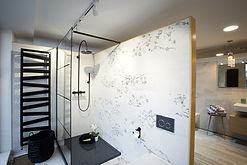 Black shower screen with a black shower tray