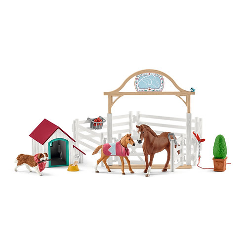 SCHLEICH 42458 HORSE CLUB HANNAH'S GUEST HORSES WITH RUBY THE DOG