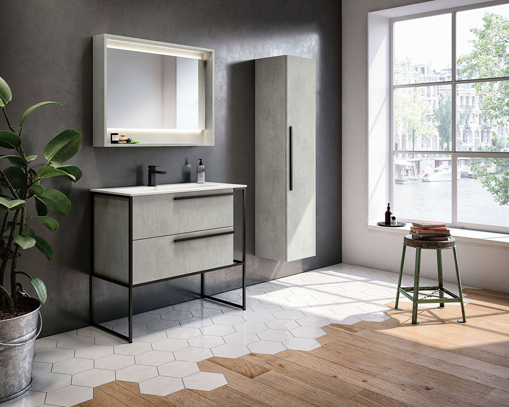 Underground Beton Wood Finish Vanity Uni