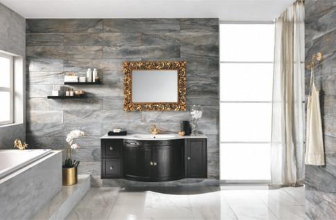 Stefania Black Finish Bathroom Vanity Un