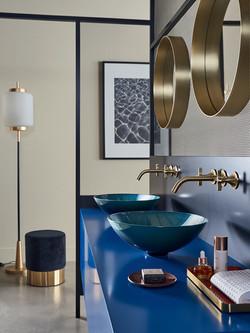 Alape Indigo Bowl Basin with Luxurious Gold Taps