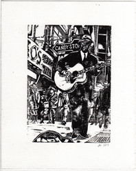 Linocut of Rev. Gary Davis, as I imagine he'd have looked busking on a sidewalk in Harlem.