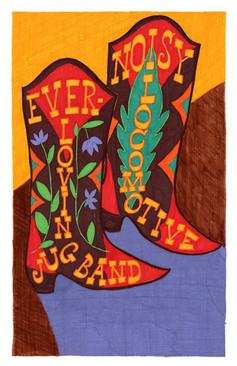 Tour poster for Ever-Lovin' Jug Band / Noisy Locomotive