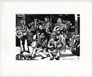 Linocut of the Memphis Jug Band, as I imagine they'd look busking.