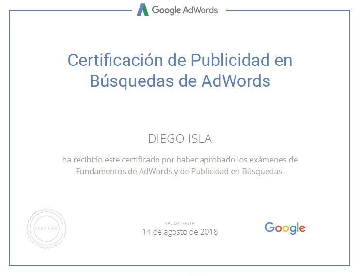 Certificado Google Search Diego Isla