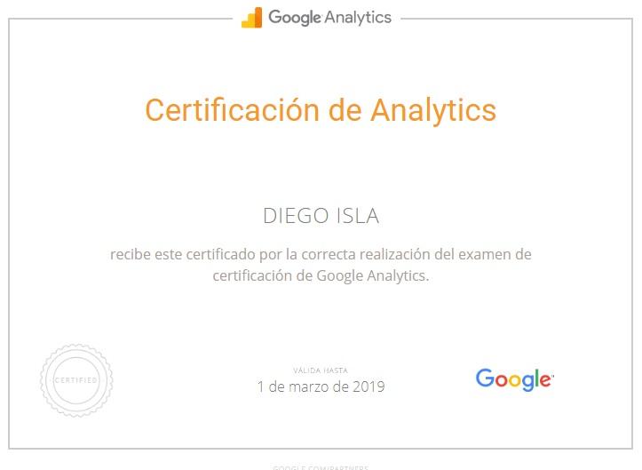 Certificado Google Analytics Diego Isla
