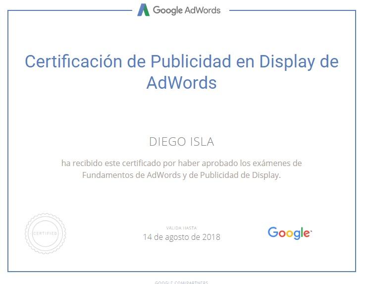 Certificado Google Display Diego Isla