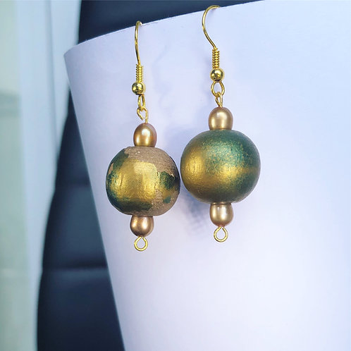 Gold and Teal Wooden Dangle Earrings