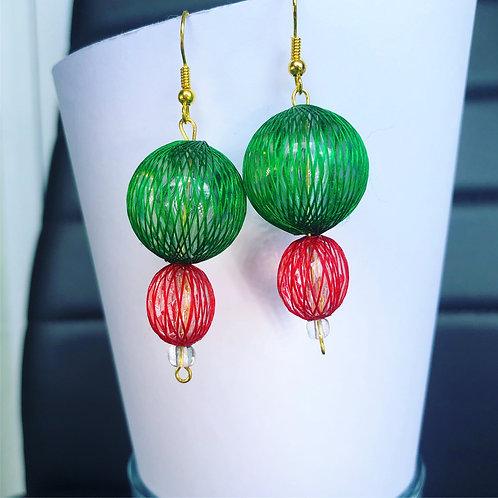 Christmas Netted Dangle Earrings