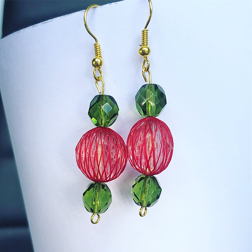 Christmas Dangle Earrings with Netted Crystal