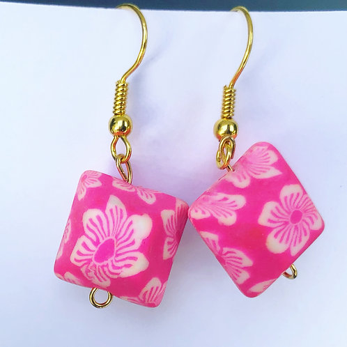Floral Clay Cubic Dangle Earrings Pink