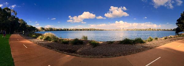 Cityscape across a lake
