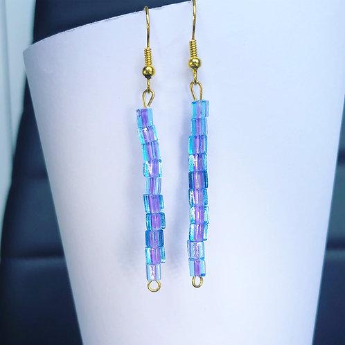 Blue and Purple Dangle Earrings