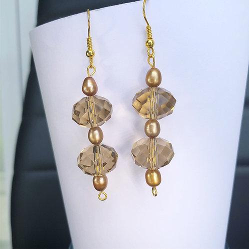 Champagne Crystal and Pearl Dangle Earrings