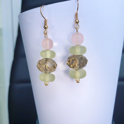 Champagne, Mint and Rose Dangle Earrings