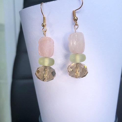 Champagne, Mint and Rose Beetle Dangle Earrings