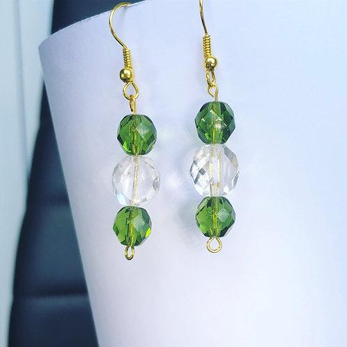 Green and Crystal Dangle Earrings