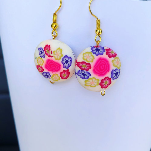 Floral Clay Round Dangle Earrings Cream