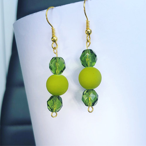 Olive and Crystal Dangle Earrings