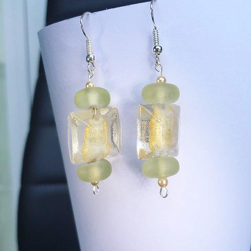 Glass Yellow and Mint Dangle Earrings