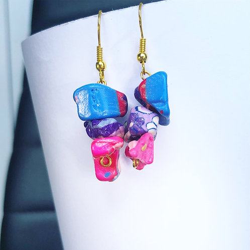 Blue, Purple and Pink Clay Dangle Earrings