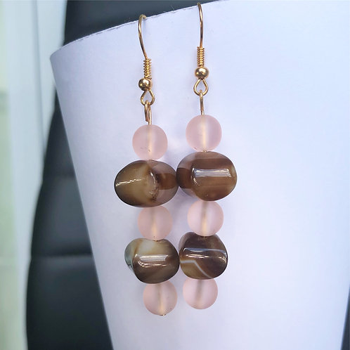 Rose and Agate Dangle Earrings