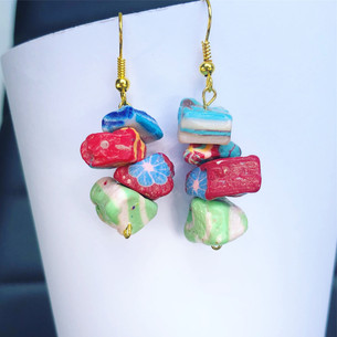 Blue, Red and Green Clay Dangle Earrings