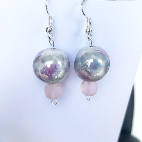Porcelain and Rose Dangle Earrings