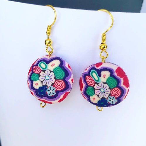 Floral Clay Round Dangle Earrings Purple and Red