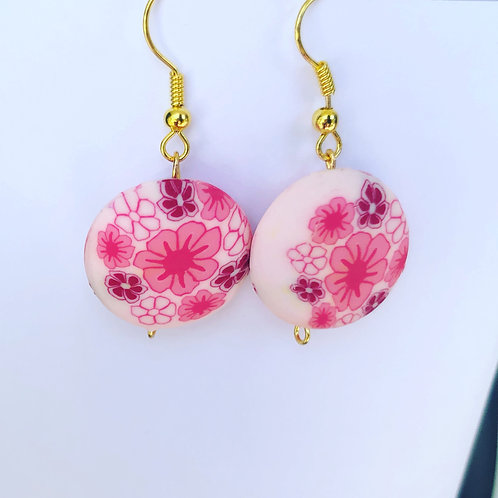 Floral Clay Round Dangle Earrings Pink