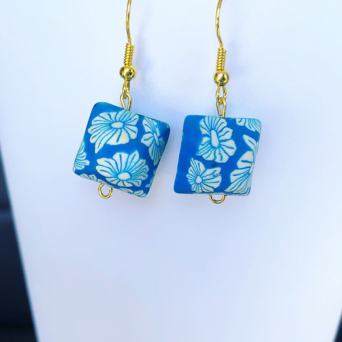 Floral Clay Cubic Dangle Earrings Blue