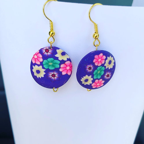Floral Clay Round Dangle Earrings Purple