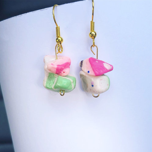 Pink and Green Clay Dangle Earrings
