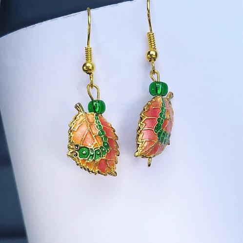Cloisonné Leaf Dangle Earrings