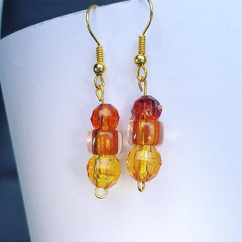 Red, Orange and Yellow Dangle Earrings