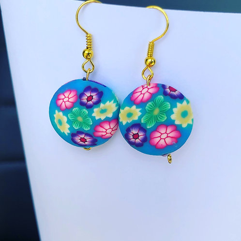 Floral Clay Round Dangle Earrings Blue