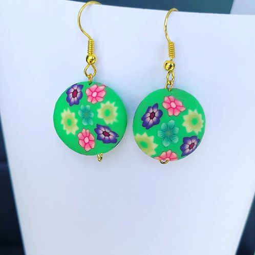 Floral Clay Round Dangle Earrings Green