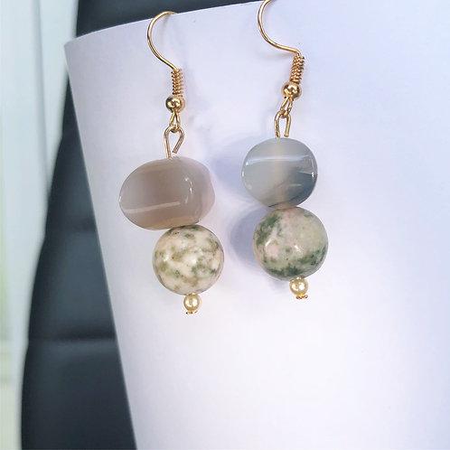 Jasper and Agate Dangle Earrings