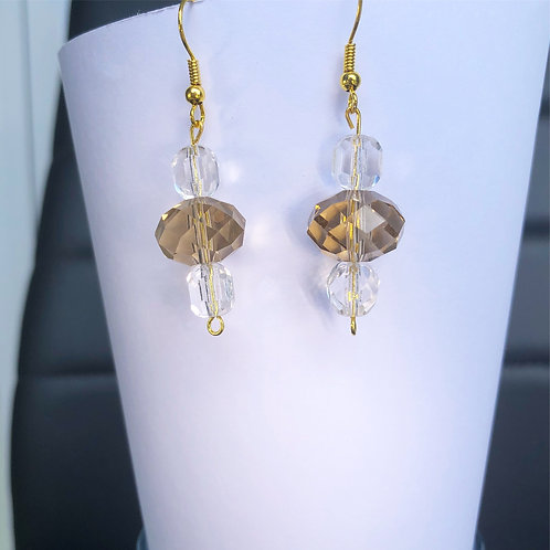 Champagne and Crystal Dangle Earrings