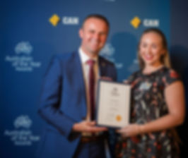 CEO Caterina Sullivan and ACT Chief Minister Andrew Barr at Australian of the Year Awards