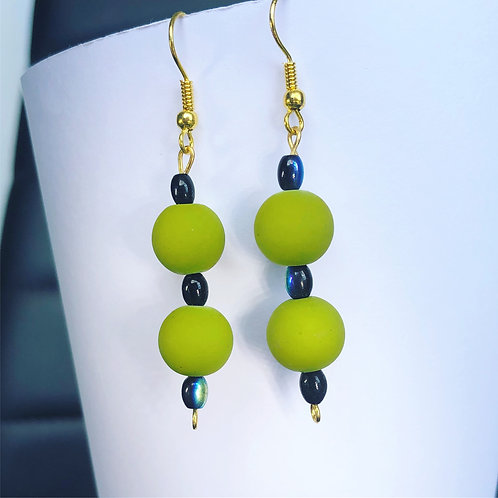 Olive and Black Dangle Earrings