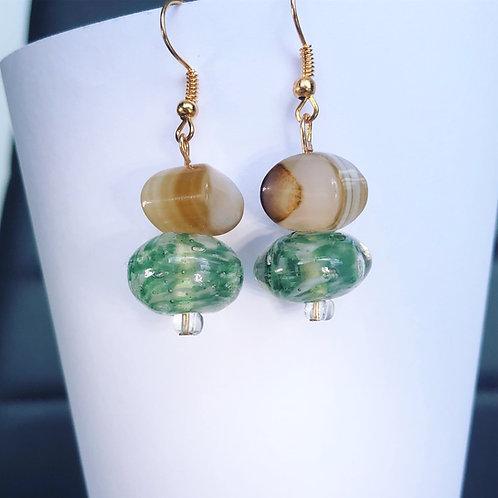 Green Glass and Agate Dangle Earrings