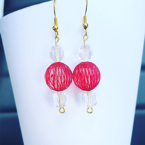 Red Netted and Crystal Dangle Earrings