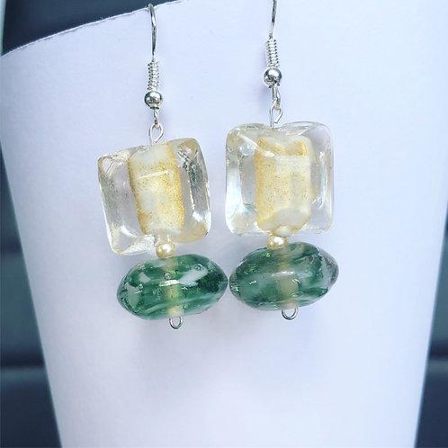 Glass Yellow and Green Dangle Earrings