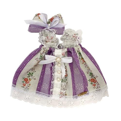 Purple White Strip Dress