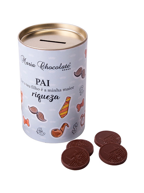Mealheiro com moedas de Chocolate - Especial dia do Pai