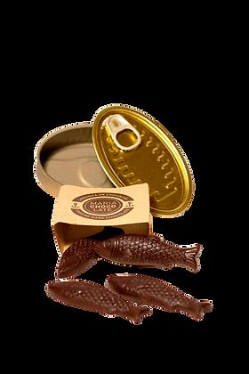 Lata de Sardinha Conserva Chocolate Negro