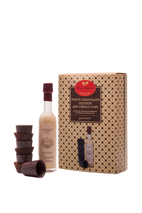 Coffret de Licor de Chocolate com copos de chocolate